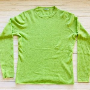 J Crew 100% Cashmere Lime Green Sweater Sz L